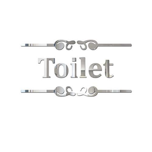 LIOOBO Wc Adesivo murale specchio inglese Adesivo murale acrilico per toilette domestica Decorazioni bagno (argento)