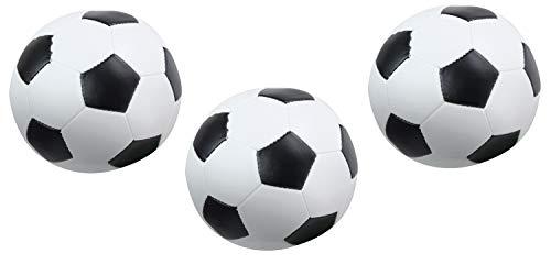 Lena 62162 Soft-Fußbälle 3er Set, Sportsoftbälle schwarz-weiß, 3 Softbälle je ca. 10 cm, Softfußbälle für Drinnen und Draußen, weiche Sportbälle, Spielbälle für Kinder ab 12m