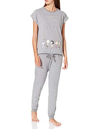 Women' Secret Short Sleeves Long Pant Pyjama Pijama, Gris Oscuro, M para Mujer
