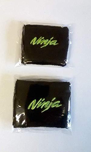 Par Verde/Negro Ninja Moto Delantero y Trasero Depósito Líquido de Frenos Cubiertas Funda Calcetines