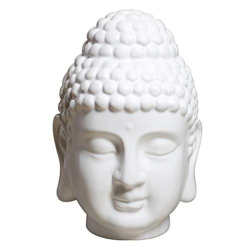CHUCHEN Ceramic Ornaments White Buddha Head Sculpture Zen Home Decor Office Living Room Wine Cabinet Decoration L