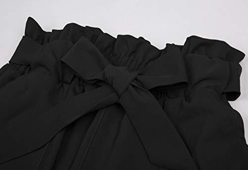 GRACE KARIN Donna Pantaloni a Sigaretta con Cintura Elasticizzata Decorato con Fiocco per Primavera Autunnali Nero M CLAF1011-1