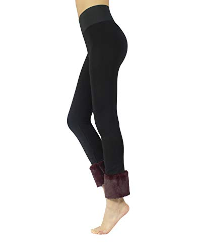 CALZITALY Leggings Push Up, Leggings Moldeadores, Leggings Con Borde De Pelo | Negro/Granat, Negro/Verde | S, M, L, XL | Made In Italy