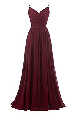 Molisa Spaghetti Straps Lace V Neck Bridesmaid Dresses Long Chiffon Pleated Prom Evening Dress Formal Gown Burgundy 10