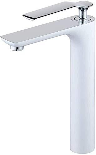 YSNJG Durable baño fregadero grifos todos bronce caliente y frío grifo lavabo pintura blanco más chapado hogar lavabo lavabo bajo encimera grifo fácil instalación