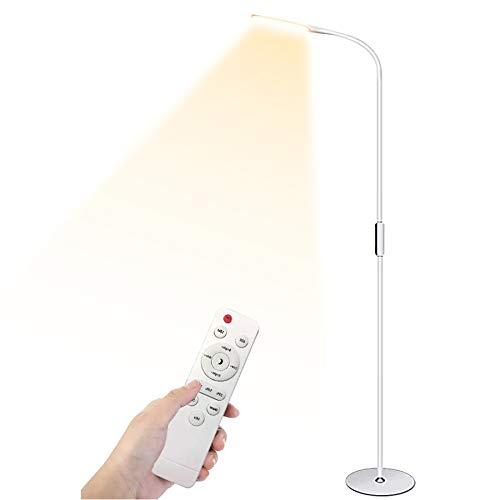 LED Floor Lamp, Henzin 9W Remote & Touchable LED Reading Standing Light for Living Room Bedroom, Flexible Gooseneck Task Light,5 Color Temperatures, 5 Level Brightness - White