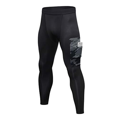 kdjsic Pantalones Deportivos de compresión para Correr para Hombre, Camuflaje, Patchwork, Bolsillo Grande para teléfono, Medias de Capa Base, Mallas de Gimnasio para Fitness