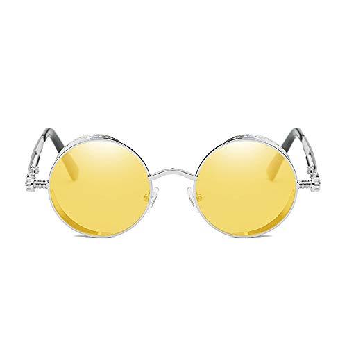 TYXL Sunglasses Gafas De Sol Estilo Steampunk Clásicas De Europa Y Estados Unidos. Gafas Reflectantes De Moda Retro Unisex UV400 con Protección De Montura Plateada. (Color : Yellow)