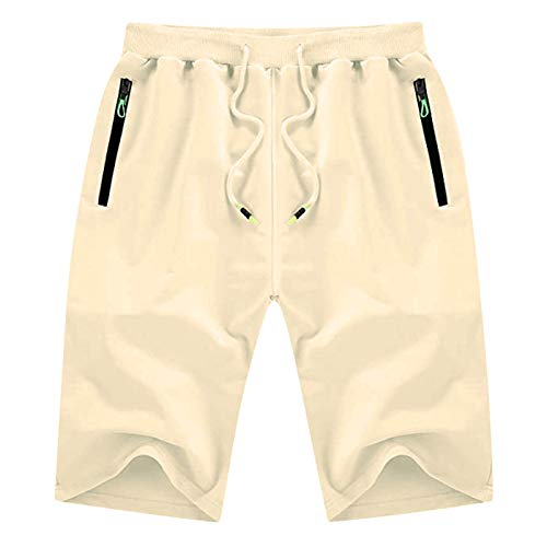 Auralto Mens Casual Shorts Flat Front Shorts Workout Fashion Comfy Shorts Breathable Big and Tall Shorts Basketball Shorts with Zipper Pockets Elastic Waist Polyester Shorts with Drawstring Beige 3XL