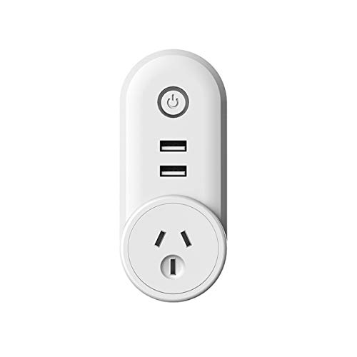 MONEIL WIFI Smart plug Socket Outlet with 2 USB Charging Port (5V 2.1A),| Compact & Easy To Use | Turn on/off Switch | Control Your Devices,Lights & Appliances,Compatible With Alexa and Google Home,Timer APP/Voice Remote Control Your Devices Anywhere No Hub Required