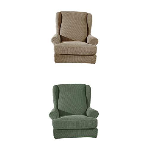 MERIGLARE Cover Couch Sillón Protector Funda para Dormitorio Sala de Estar Tan + Verde
