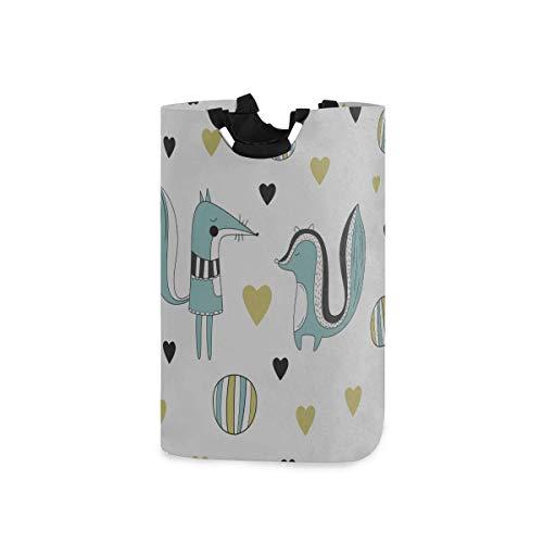 Cesta de lavandería colorida con dibujos animados de primavera, hojas de flores de Skunk, cestas de lavandería para hombres, cesta grande de lavandería, 11 x 12,6 x 22,7 pulgadas, plegable, tela Oxfor