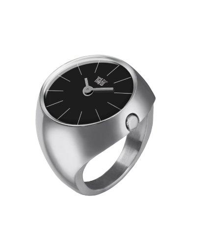 Davis - Ring Watch 2000S – Ringuhr Damen Saphirglas Gewölbt - Ziffernblatt Schwarz Stabzeiger - Größe 52