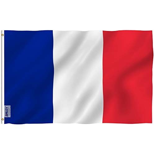 ANLEY [Fly Breeze] 3x5 Foot France Flag - Vivid Color and UV Fade Resistant - Canvas Header and Double Stitched - French National Flags Polyester with Brass Grommets 3 X 5 Ft