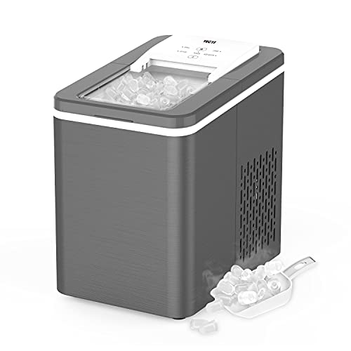 VECYS Countertop Ice Maker Machine, 9 Bullet Ice Cubes Ready in 8 Mins 26LBS in 24 Hours, Self-Clean 1.8L Portable Ice Maker with Ice Scoop and Basket, Great for Bar, Party, Dark Grey and White