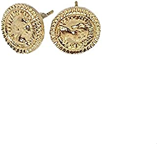 OX Push-Back Clasp Coin Shaped Stud Earrings for Women - Gold