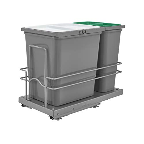 Rev-A-Shelf 5SBWC-815S-1 Sink Base Double Pull Out Waste Containers with Reduced Depth for Trash and Recyclables with Soft Close Slides