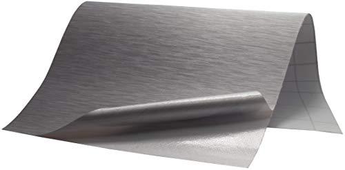 6,5€/m² Folie Edelstahl gebürstet - SILBER - 100 x 152 cm blasenfrei selbstklebend flexibel Dekor Folie Auto Küche Klebefolie Schutzfolie