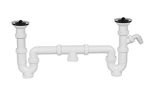 Aqualy® dubbele sifon spoelbak met antennes en ventielen