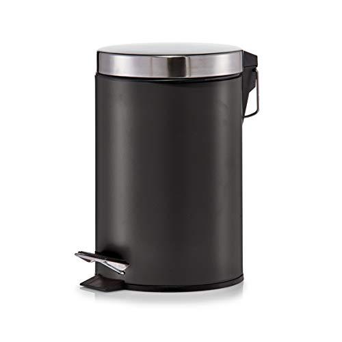Zeller 18212 Treteimer, Metall, Edelstahl, 3 L, matt schwarz