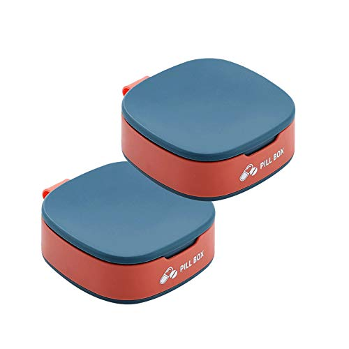 RDJSHOP 2 Pack Pill Organizer Box - 4 Compartment Small Pill Box for Pocket Daily Pill Box for Vitamin, Portable Pill Organizer for Girl,Blue