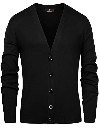 PJ PAUL JONES Casual Long Sleeve Button Placket V-Neck Knitted Cardigan Sweater for Men Size M Black