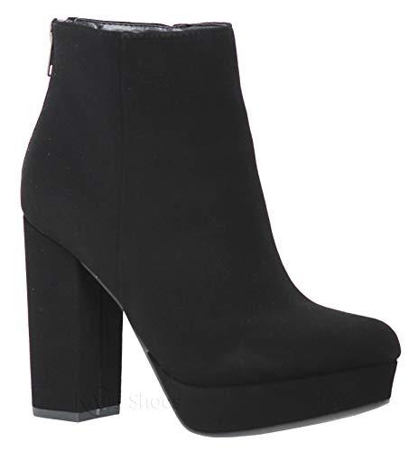 MVE Shoes Women's Block Heel Almond Toe Ankle Boots, Meeting Black NB 7.5