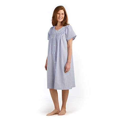 Miss Elaine Women's Seersucker Short Snap Robe - with Short Sleeves, Two Front Pockets, and Embroidery (Large, Navy/White Stripe)