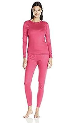 Fruit of the Loom Women's Fleece Lined Thermal Underwear Set, Hot Pink, Medium