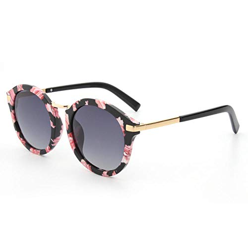 Gafas de sol para mujer Gafas de sol de moda anti-UV-Marco de lunares rosa hoja negra_Como se muestra
