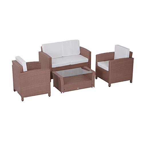Outsunny Set mobili da Giardino in Poly Rattan 4 pz tavolino...