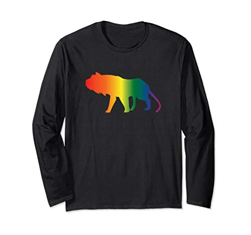 Rainbow Lion - LGTBQ Gay Lion / Big Cat / Gay Tiger Gift Long Sleeve T-Shirt