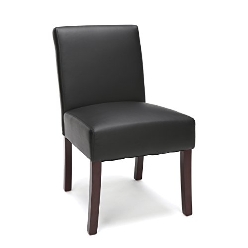 OFM Essentials Collection Bonded Leather Executive Armless Guest Chair with Wooden Legs, in Black