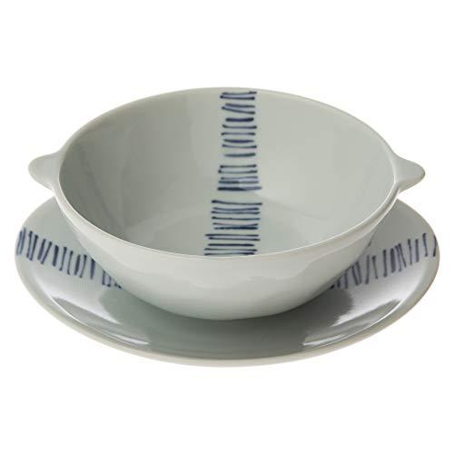 西海陶器 スープ碗皿セット 幾何紋柄 31833