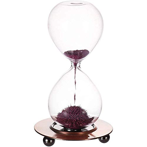 ETDWA Minuterie magnétique de sablier, Jouet de sablier de minuterie de Sable - Affichage avec Horloge en Verre de minuterie de Base en Bois, Affichage de décoration de Bureau de Bureau à Domicile