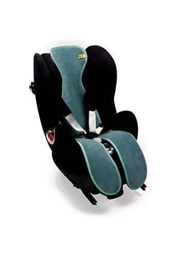 AirLayer AeroMoov Matte für Kindersitz, Gruppe 2/3, mit Gurt, 3D-Matte aus weichem Fleece mit atmungsaktiver Wabenstruktur, hält Ihr Baby kühl und trocken in seiner Gruppe 2/3 (Minze)