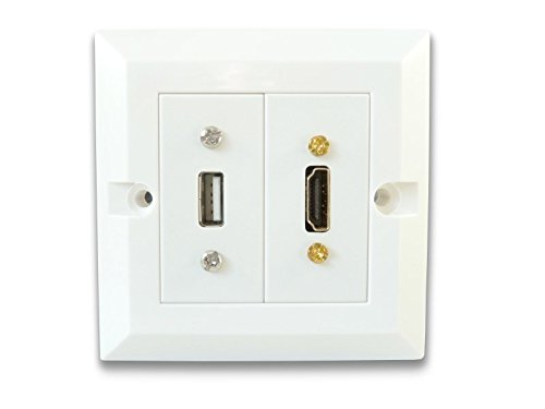 C4A Single HDMI and USB Wall Plate/Easy Connect Faceplate/White