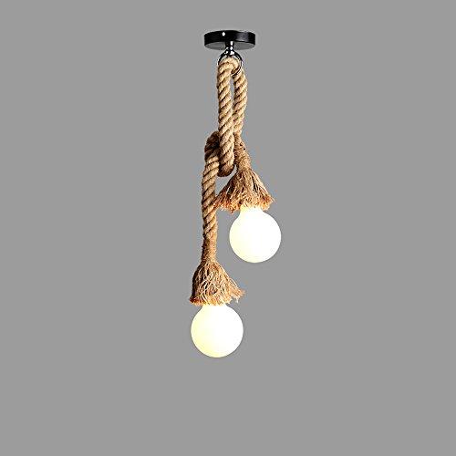 Luz colgante moderna E27 industrial cáñamo cuerda colgante lámpara vendimia edison metal suspensión luz lámpara de lámpara de araña araña fiesta de fiesta decoración colgante linterna Muebles para el
