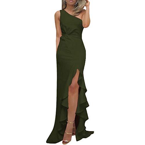 LILICAT_Kleider Sommer Asymmetrisch Kleid Damen Rüschen Abend Party Ball Prom Cocktail Brautkleid Eine Schulter Wickelkleid Asymmetrisch Trägerlos Partykleid Retro Cocktailkleider