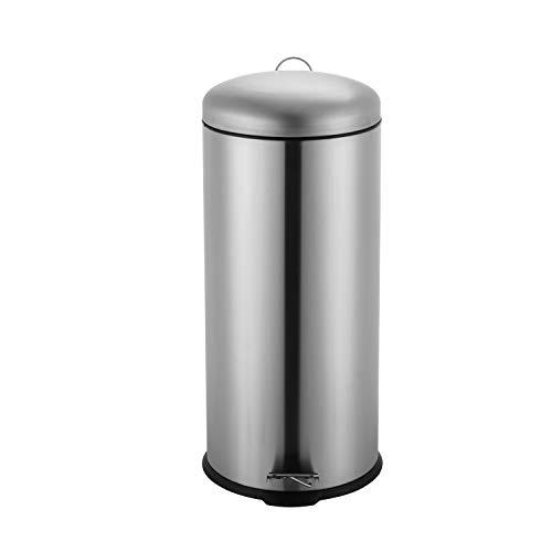 Ribelli Mülleimer aus Edelstahl - Mülltrennung Treteimer Abfalleimer Müllbehälter Papierkorb Mülltonne, rund, 30 Liter mit Inneneimer - Soft Closing (Chrom)