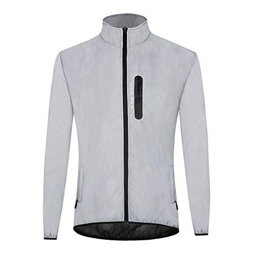 GRTE Mountain Cycling Jacket Mens, Lightweight Long Sleeve Top Jerseys Windproof Water Fully Reflective Warm Night Running Road Riding And Fishing Coats,M