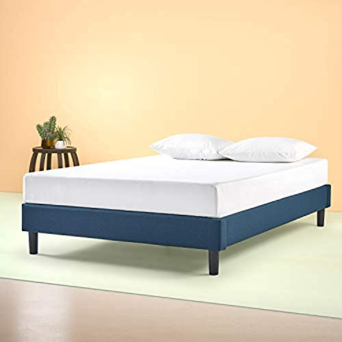 Zinus Curtis Upholstered Platform Bed Frame / Mattress Foundation / Wood Slat Support / No Box Spring Needed / Easy Assembly, Queen