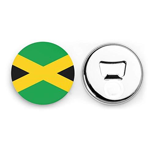 Abridores de botellas redondos con bandera de Jamaica / Imanes de nevera Sacacorchos de acero inoxidable Etiqueta magnética 2 piezas