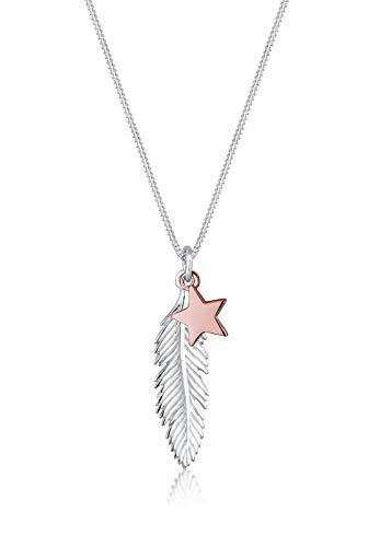 Elli Halskette Damen Feder Stern Anhänger Bi-Color in 925 Sterling Silber