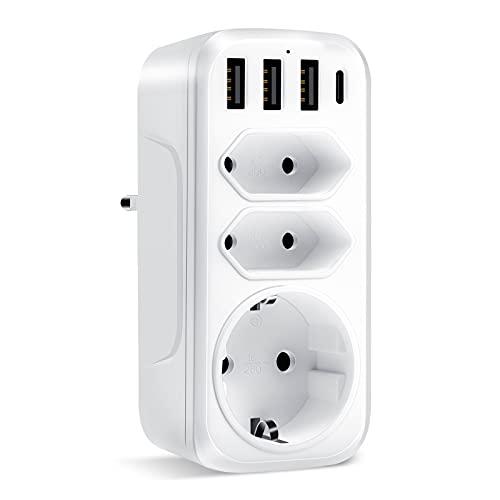 USB Enchufe, Altopbum Adaptador de Enchufe con 3 USB y 1 Puerto Tipo C (Max.3.4A) Regleta Enchufe de Pared Portátil Toma de Corriente para Smartphone MP3 Viaje Hogar Oficina