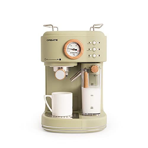 CREATE THERA MATT PRO - Cafetera Express semiautomática, 20 bares de Presión, Espresso, Latte o Cappuccino, Depósito de Agua Extraíble 1.5 l, Depósito de Leche y Agua Extraible, 1250W (Verde)
