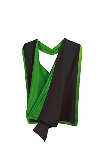 Toga da laurea, stile accademico con cappuccio (figura intera) Black with Emerald Green Etichettalia unica