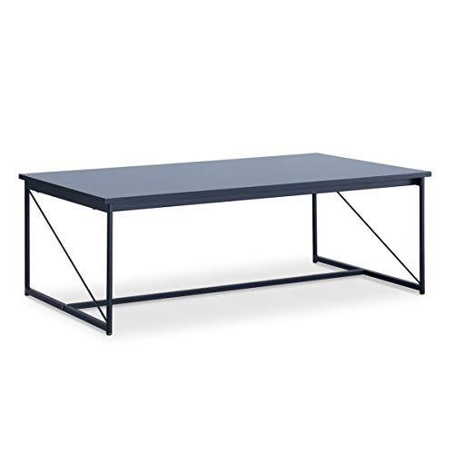 Alsapan Walter Table Basse Rectangulaire Design Industriel Laqué Noir Métal et MDF 100 x 35 x60 cm