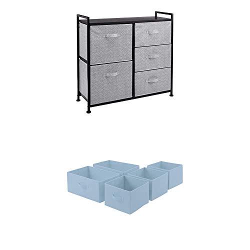 Amazon Basics - Aufbewahrungsschrank für Kleiderschränke, aus Stoff, 5 Schubladen, Schwarz + - Ersatzschubladen aus Stoff für einen Aufbewahrungsschrank mit 5 Schubladen, Taubenblau