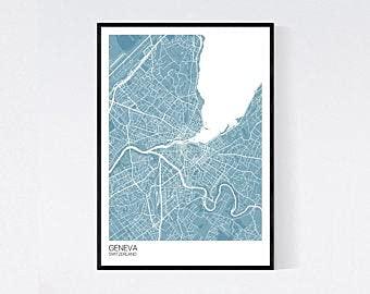 MG global Impresión artística de mapa de Ginebra, Suiza, muchos colores, papel...